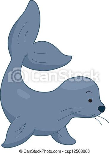 illustration of a sea lion rh canstockphoto com baby sea lion clipart Octopus Clip Art