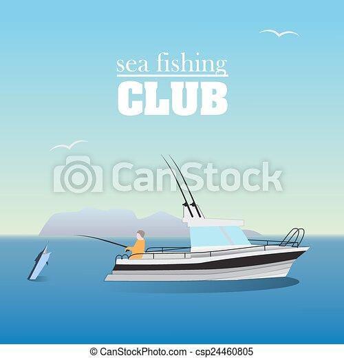 Sea marlin fishing on the boat - csp24460805