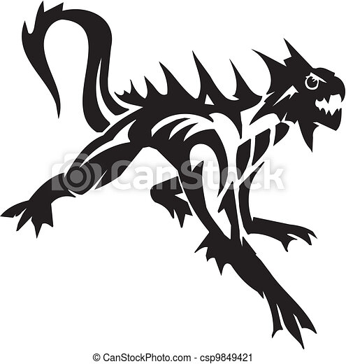 Sea Monster - vector illustration. Vinyl-ready. - csp9849421