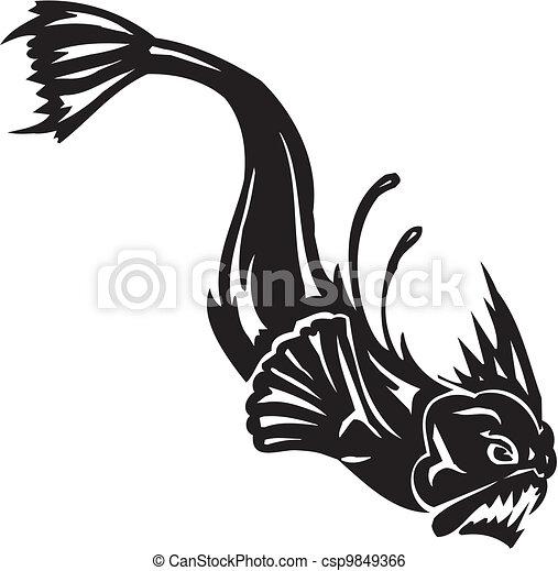 Sea Monster - vector illustration. Vinyl-ready. - csp9849366
