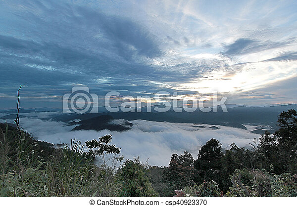 sea of mist in the morning time - csp40923370