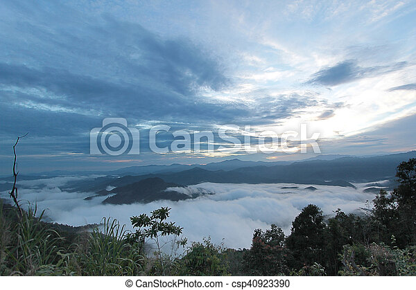 sea of mist in the morning time - csp40923390