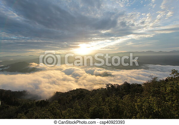 sea of mist in the morning time - csp40923393