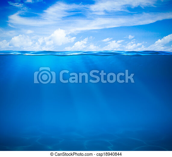 Sea or ocean water surface and underwater - csp18940844
