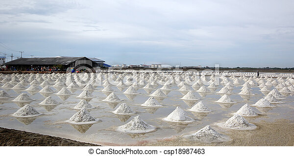 sea salt in salt farm - csp18987463
