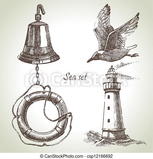 Sea set of nautical design elements. Hand drawn illustrations - csp12166692