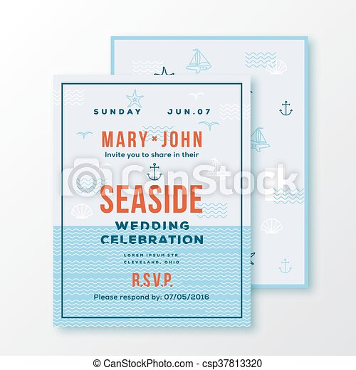 Sea Side Wedding Invitation Card Or Ticket Template Modern Typography And Nautical Symbols On Background Red Blue White Canstock