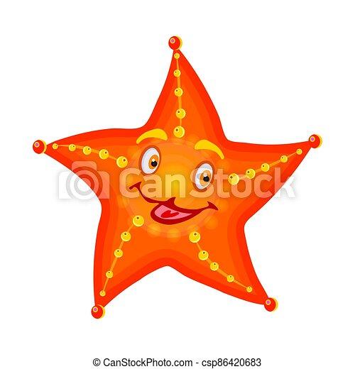 Sea star isolated on white background. Cute cartoon orange starfish. - csp86420683