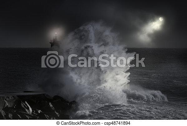 Sea storm at night - csp48741894