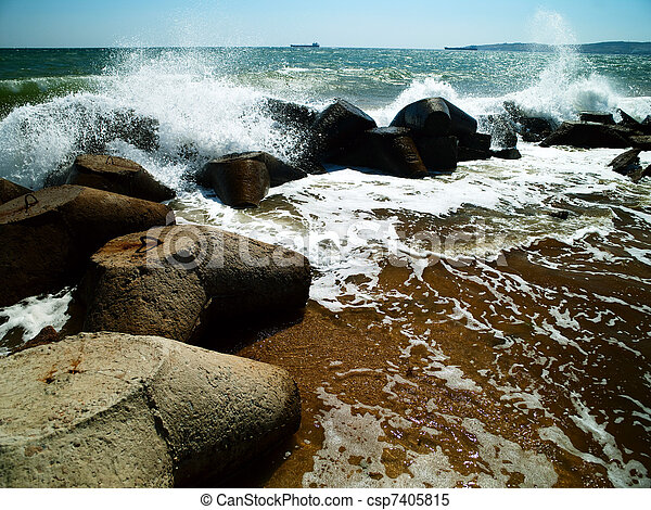sea surf. Ukraine, Black Sea coastline - csp7405815