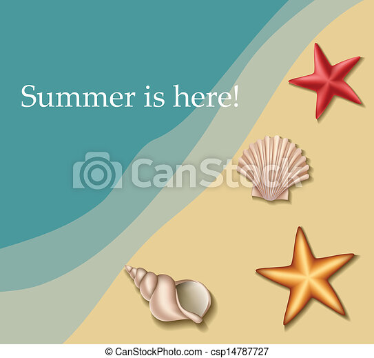 Sea text frame with shells - csp14787727