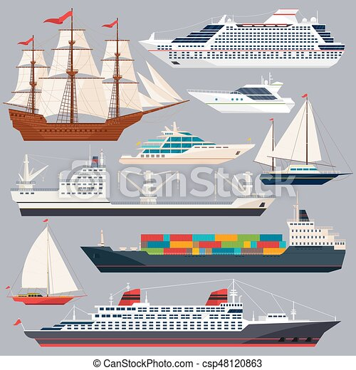 sea transportation vector illustrations of ships and different