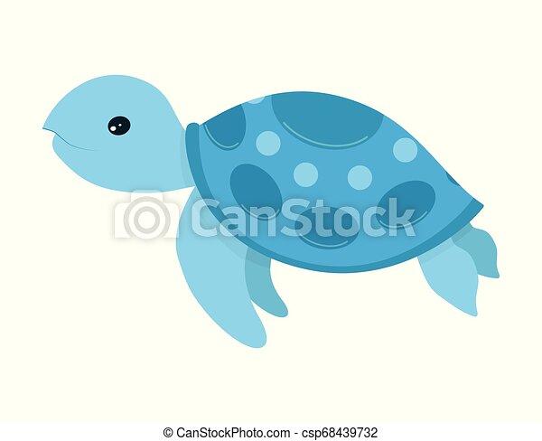 Sea Turtle Cartoon Cute Blue Turtle Smiling Vector Illustration