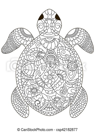 Sea Turtle Coloring Vector For Adults