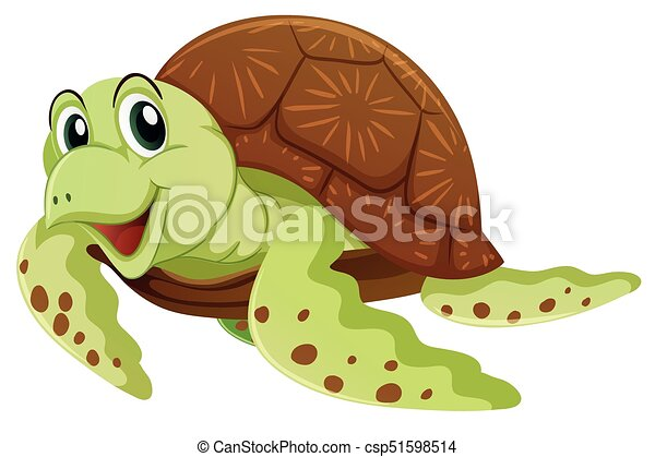 Sea Turtle With Happy Face Illustration