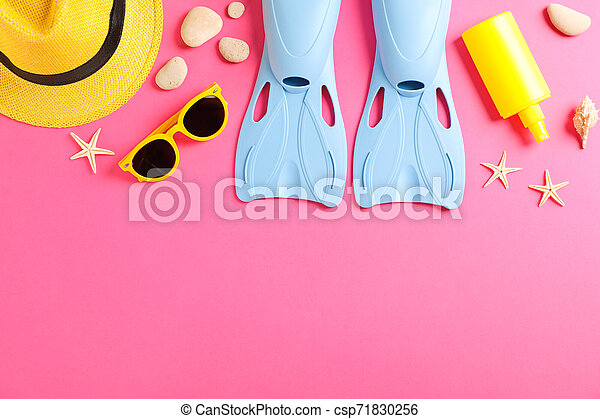 Sea vacation accessories on yellow background, top view - csp71830256