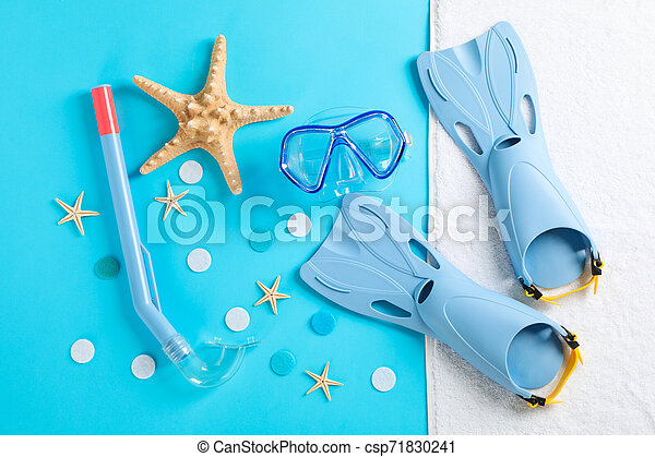 Sea vacation accessories on yellow background, top view - csp71830241