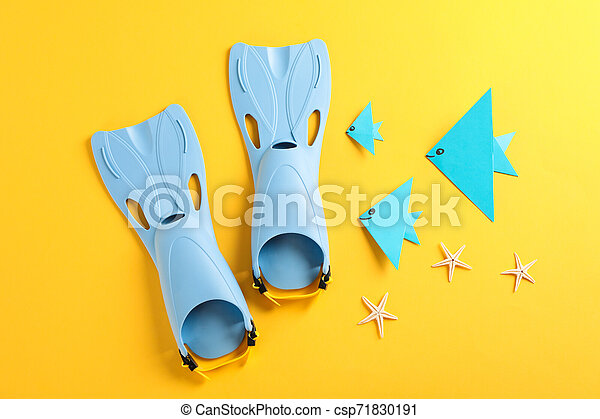 Sea vacation accessories on yellow background, top view - csp71830191