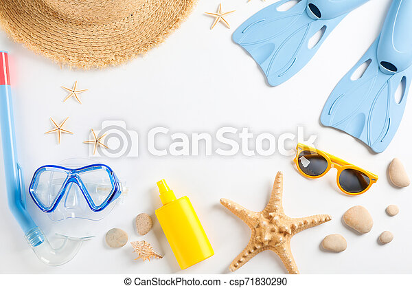 Sea vacation accessories on yellow background, top view - csp71830290