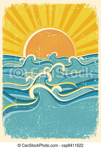 Sea waves and yellow sun on old paper texture.Vintage illustration - csp8411622