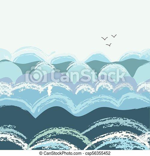 Sea waves seamless pattern - csp56355452