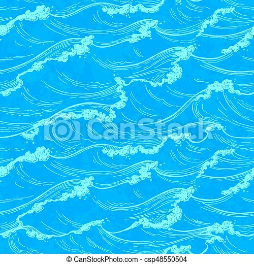 Sea waves seamless pattern. - csp48550504