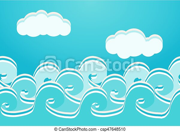 Sea waves seamless pattern, vector illustration - csp47648510