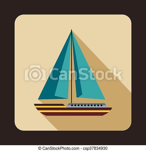 Sea yacht icon, flat style - csp37834930