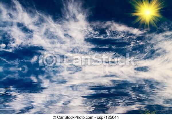 sea., zon, boven, zacht, mooi en gracieus - csp7125044