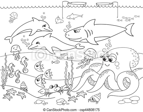 Seabed with marine animals vector coloring for kids for Disegno paesaggio marino