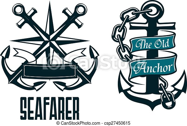 seafarer marine heraldic emblem and symbol with ship anchors rh canstockphoto com marine logo vector 39 logo marine nationale vectoriel