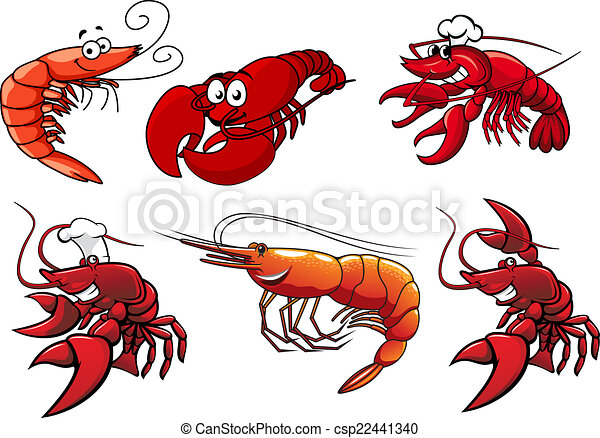 Seafood characters of shrimp, prawns and lobsters - csp22441340