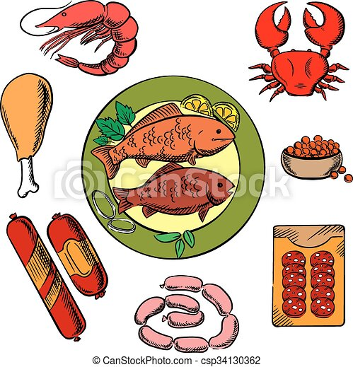 Seafood Chicken And Meat Food Icons With Fish Crab Prawn Caviar