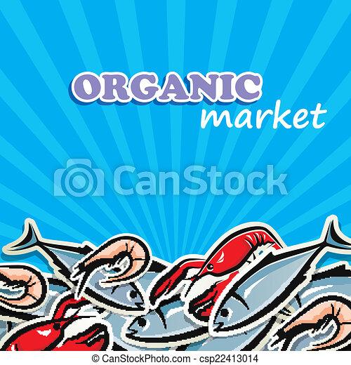 seafood., concetto, cibo organico, illustrazione, vettore - csp22413014