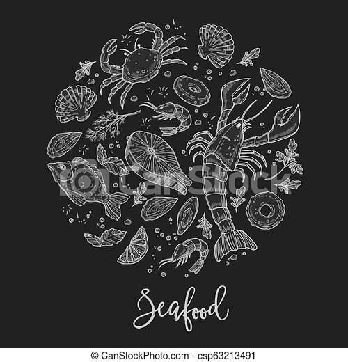 Seafood cuisine restaurant poster or dish menu design template - csp63213491