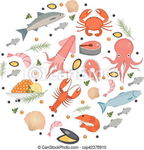Seafood icons set in round shape flat style sea food for White river fish market menu