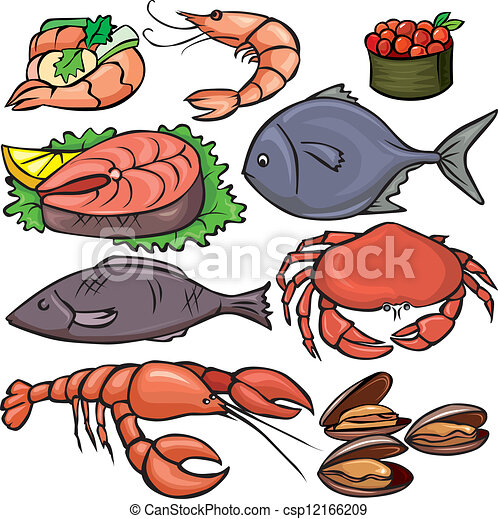 seafood icons set vector clipart search illustration drawings and rh canstockphoto com Picture Day Clip Art Seafood Clip Art Borders