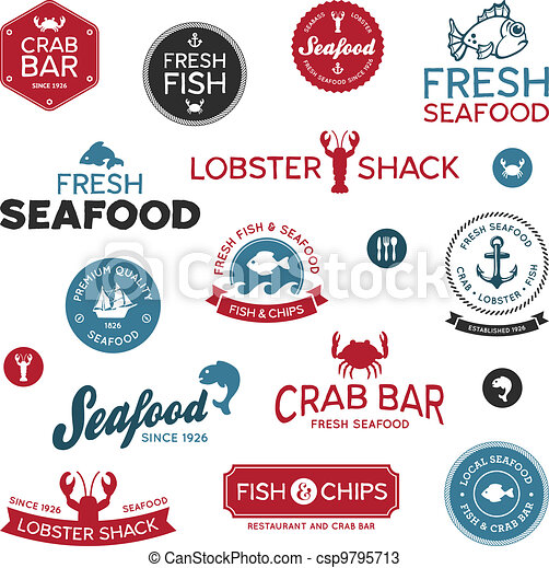 Seafood labels - csp9795713