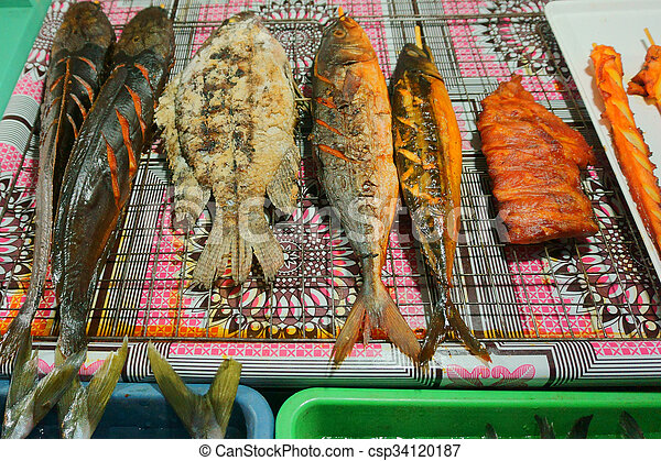 seafood on the market - csp34120187