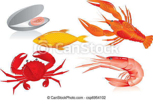 Seafood:  oyster, shrimp, crawfish, crab and fish - csp6954102