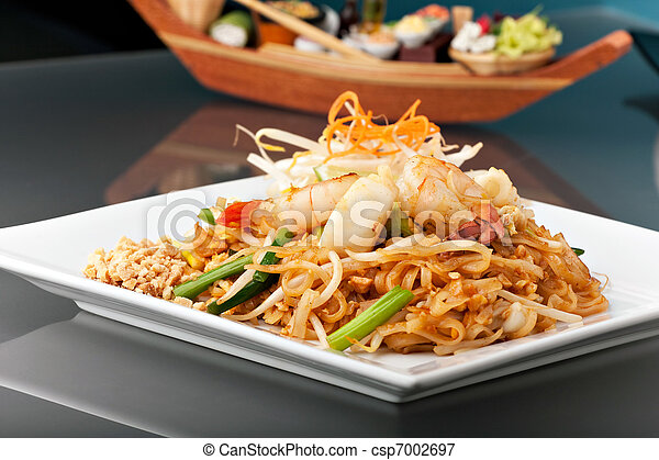 Seafood Pad Thai with Stir Fried Rice Noodles - csp7002697