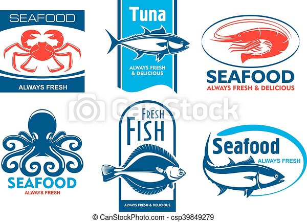 Seafood Restaurant And Product Icons Seafood Products Tags And