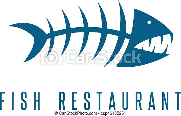 seafood restaurant emblem with skeleton of fish vector rh canstockphoto com  t shirt with fish skeleton logo