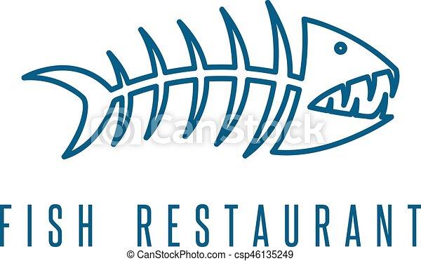 seafood restaurant emblem with skeleton of fish vector rh canstockphoto com Fish Skeleton Tattoos Fish Skeleton Tattoos