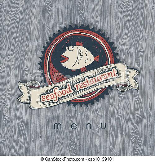 Seafood restaurant menu. Vectior, EPS10. - csp10139101