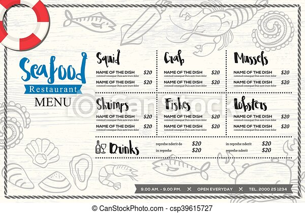 seafood restaurant placemat menu design vector template with hand drawn graphic - csp39615727