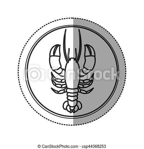 Seafood round stamp - csp44368253