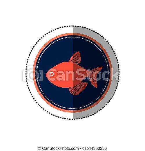 Seafood round stamp - csp44368256