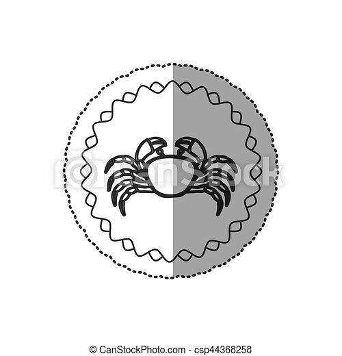 Seafood round stamp - csp44368258