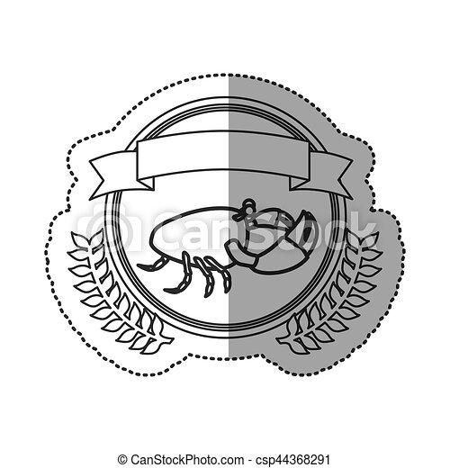 Seafood round stamp - csp44368291